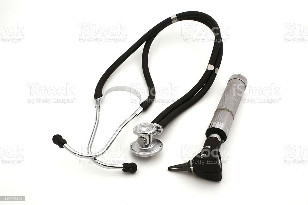 Medical tools over white stock photo