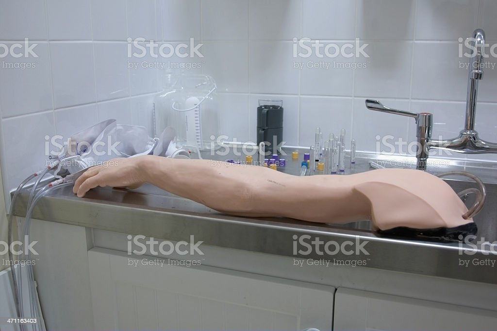 Medical training limb for transfusion practice royalty-free stock photo