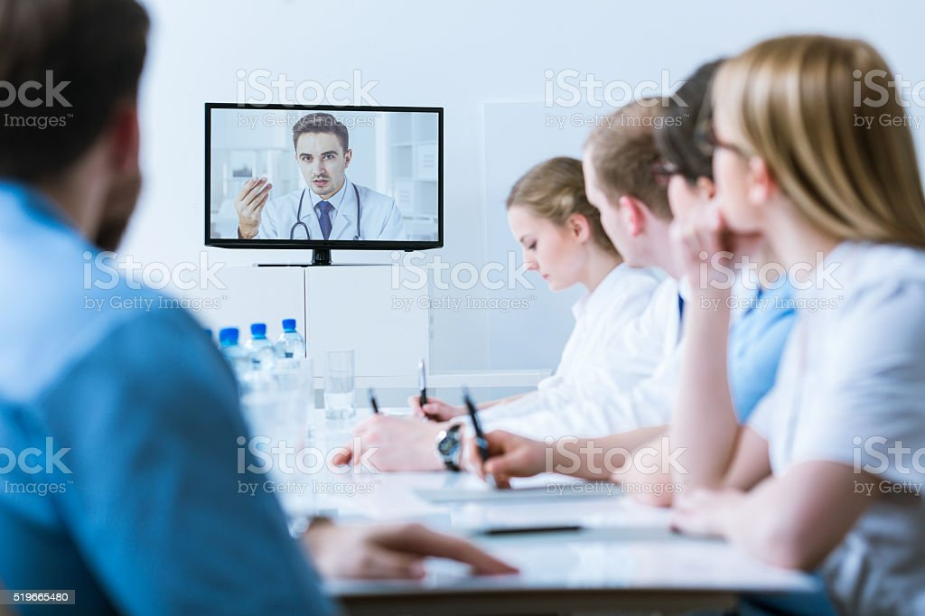 Medical video conference for healthcare stock photo