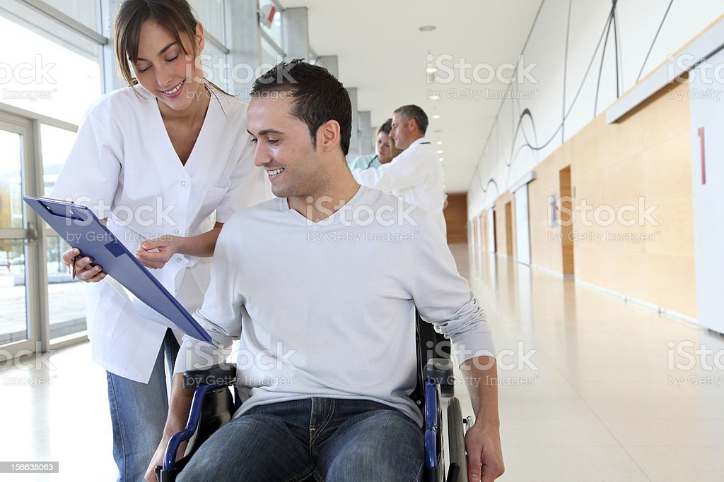 Medicalcare and handicapped people stock photo