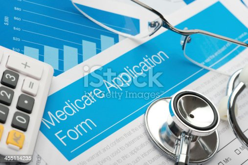 Medicare Application Form With Stethoscope Stock Photo 455114235