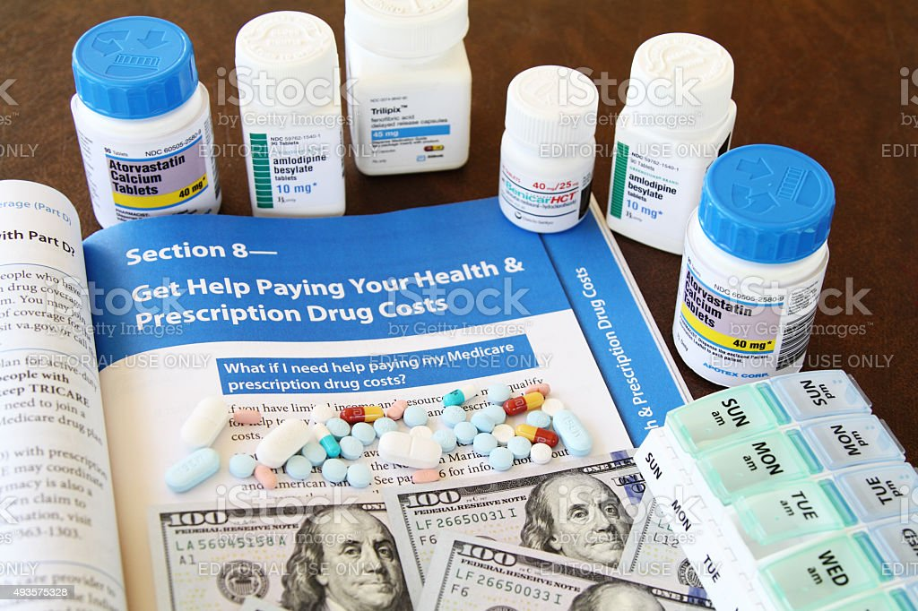Medicare booklet with prescription pills stock photo