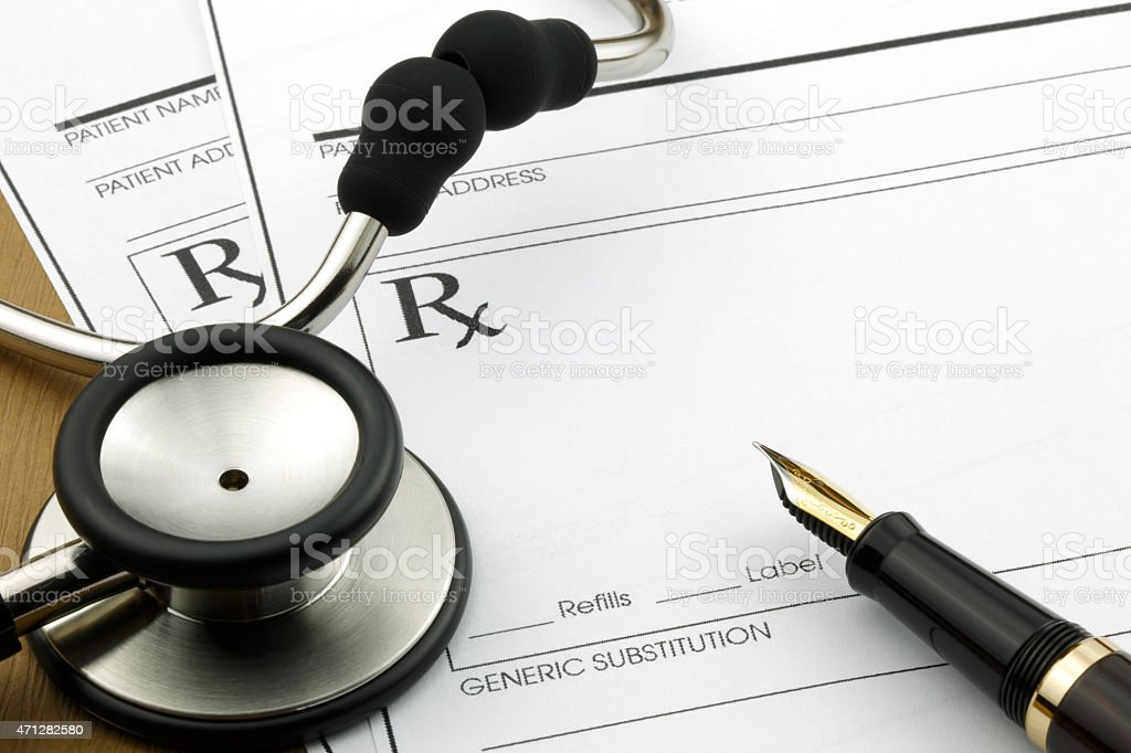 Medicare prescription and Stethoscope stock photo