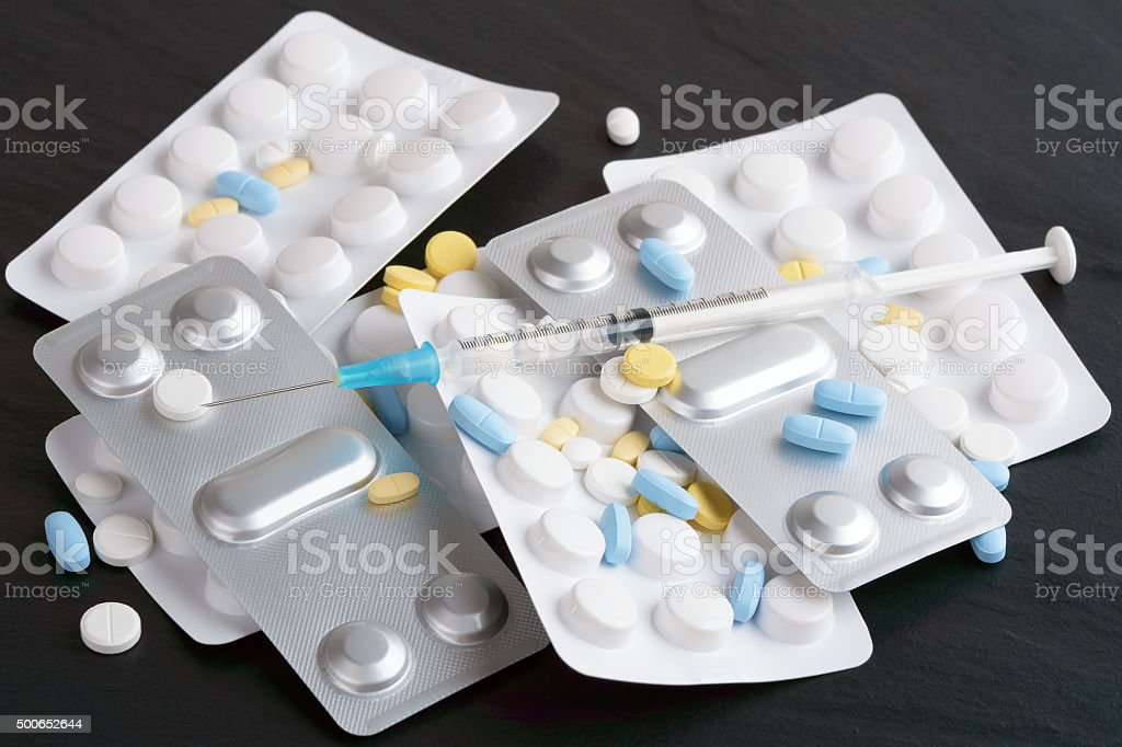 Medication and drugs stock photo