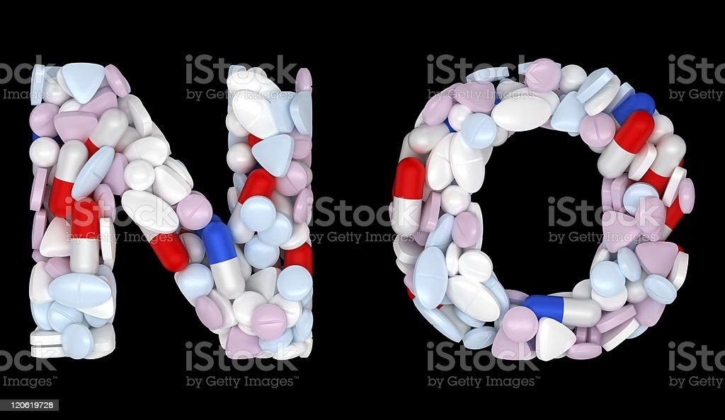 Medication font N and O pills letters royalty-free stock photo