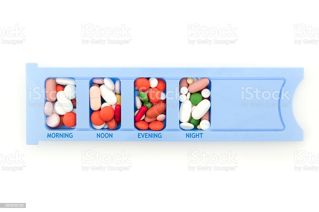 Medication pill box isolated on white, unnecessary drugs concept royalty-free stock photo