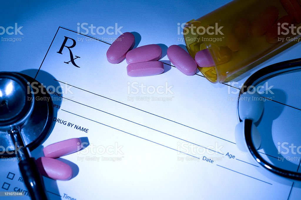 Medication Prescription and Pills royalty-free stock photo