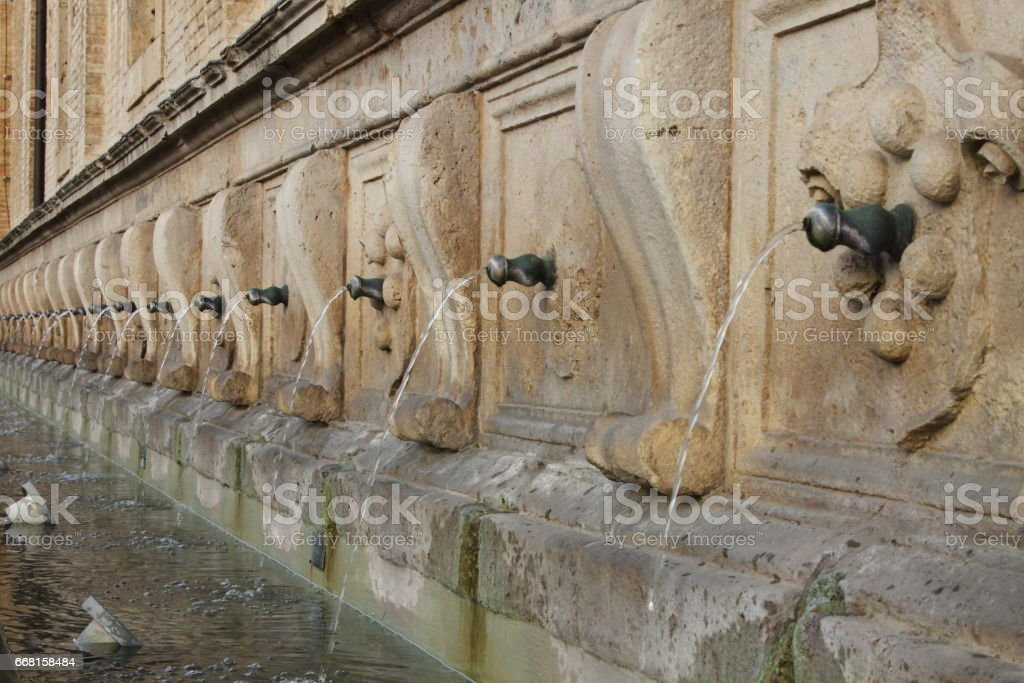 Medicean Fountains in Saint Mary of Angels Cathedral stock photo