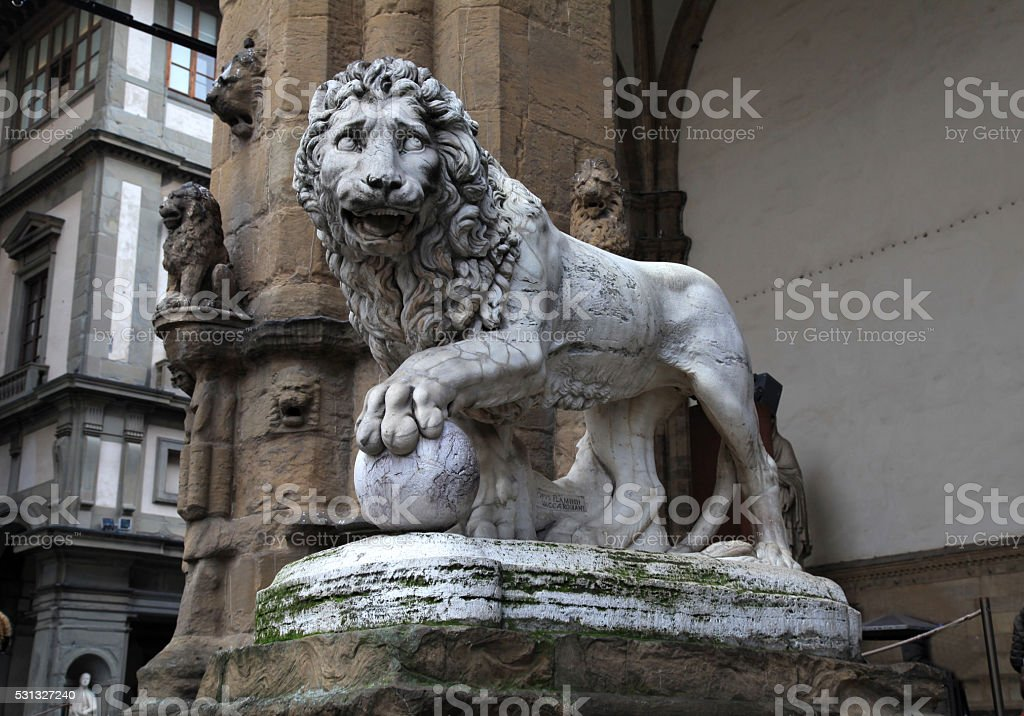 Medici lion at Signoria square in Florence, Italy stock photo