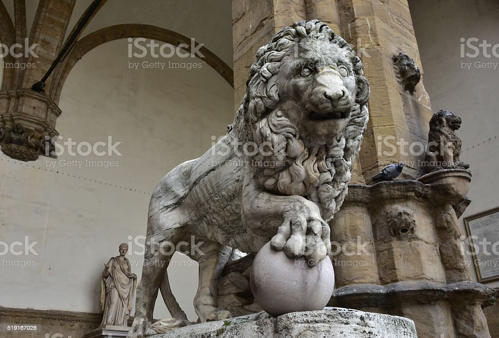 Medici Lion holds the globe in Piazza della Signoria stock photo
