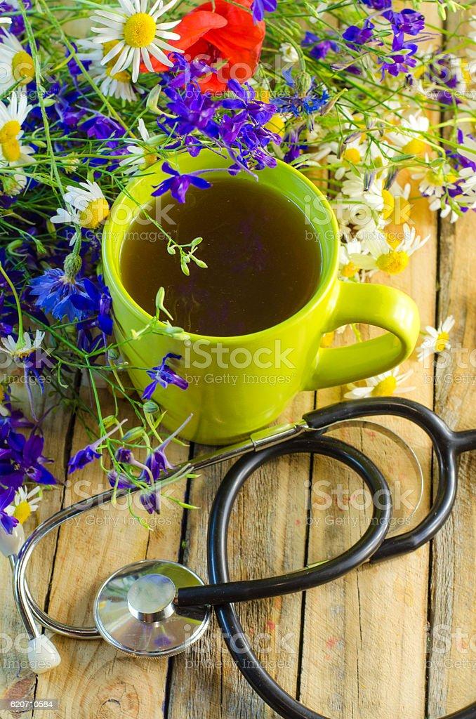 medicinal herbal tea stock photo