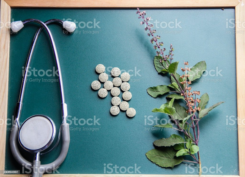 Medicinal herbs on green wooden board stock photo