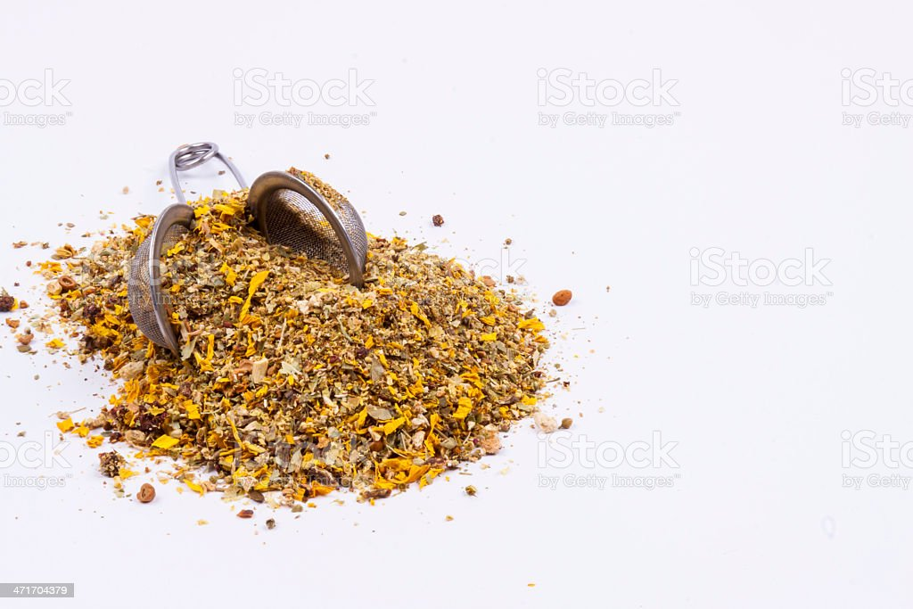 Medicinal herbs perfect for flu - white background. royalty-free stock photo