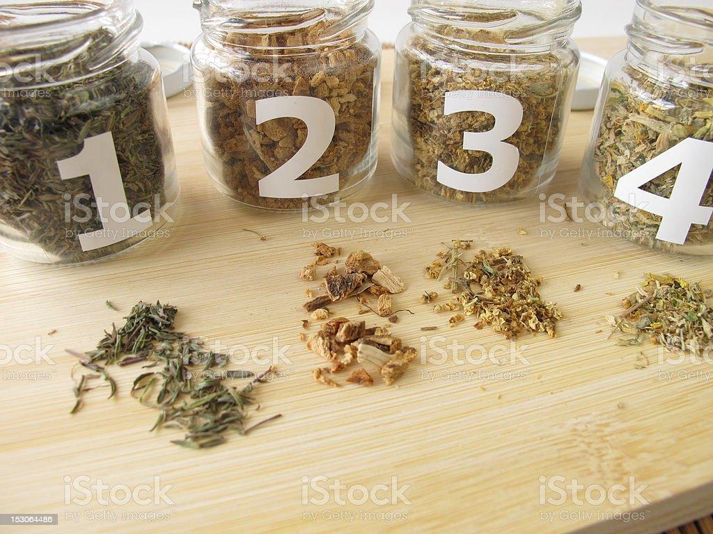 Medicinal herbs samples stock photo