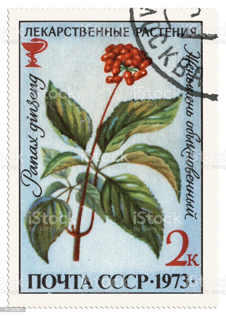 Medicinal Plants postage stamp royalty-free stock photo