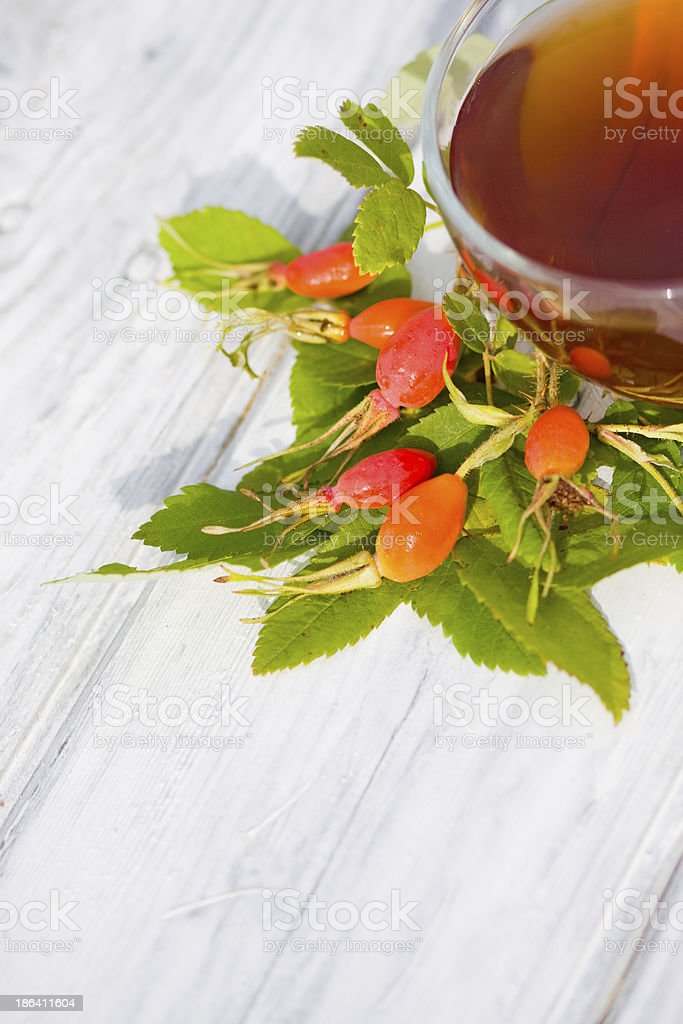 Medicinal tea with berries of wild rose royalty-free stock photo