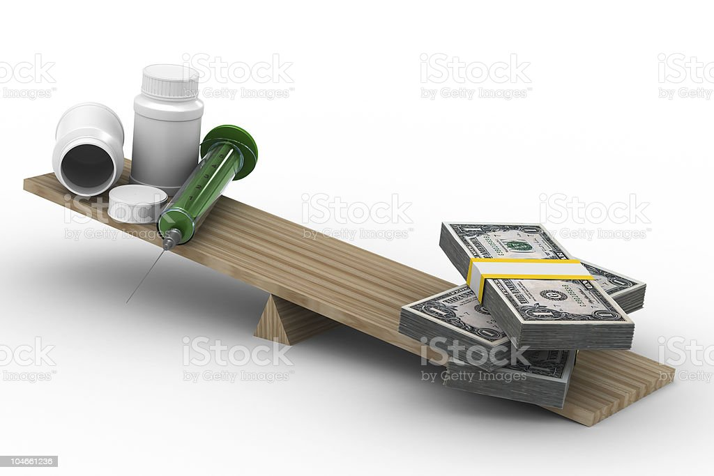 Medicine and money on scales. Isolated 3D image royalty-free stock photo