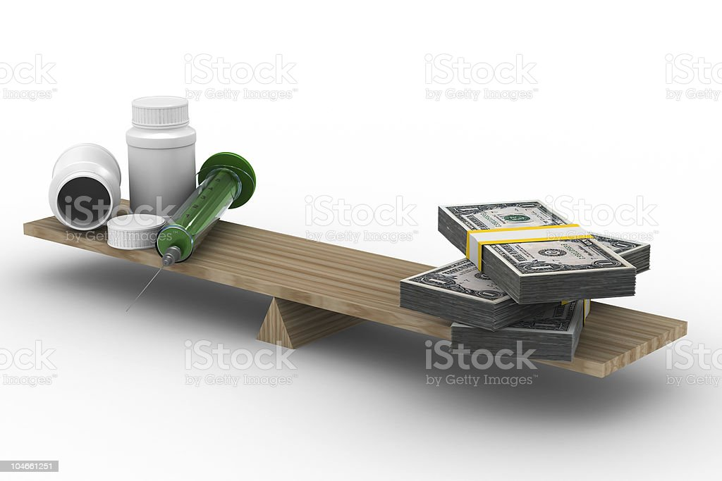 Medicine and money on scales. Isolated 3D image stock photo