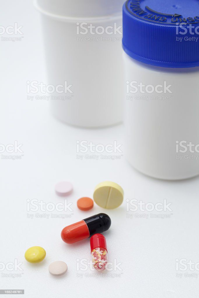 Medicine and pill bottle. royalty-free stock photo