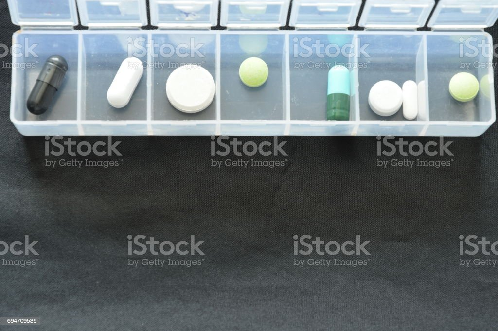 medicine and pill in plastic cartridges stock photo