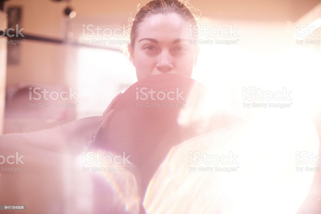 medicine ball training stock photo