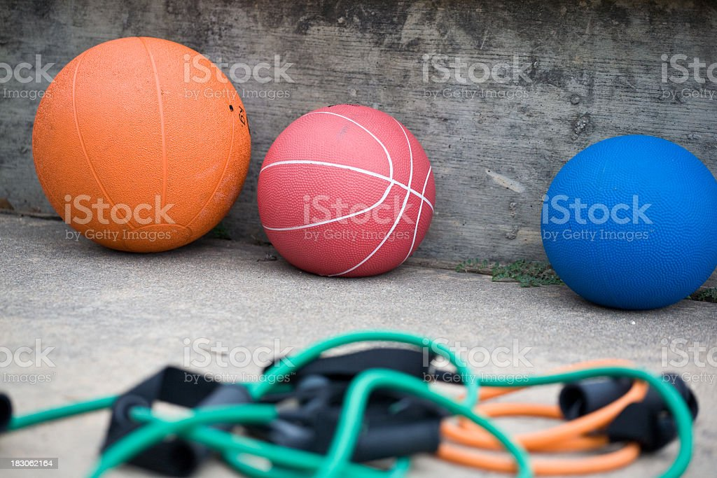 Medicine balls with ropes in many different colors stock photo