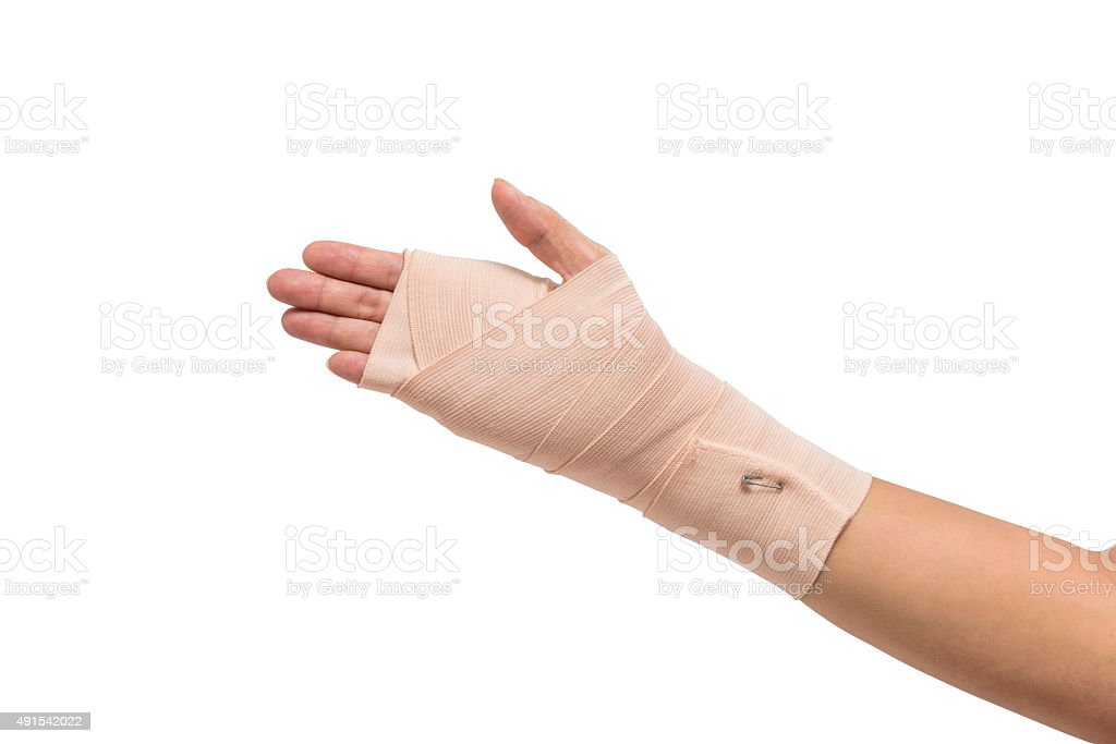 Medicine bandage on human hand isolated stock photo