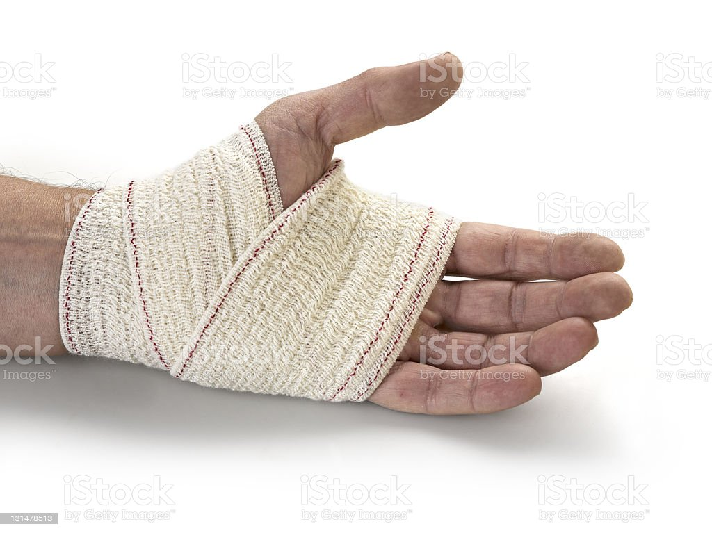 Medicine bandage on human hand royalty-free stock photo