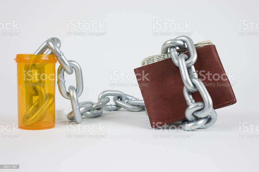 Medicine bottle wallet stock photo