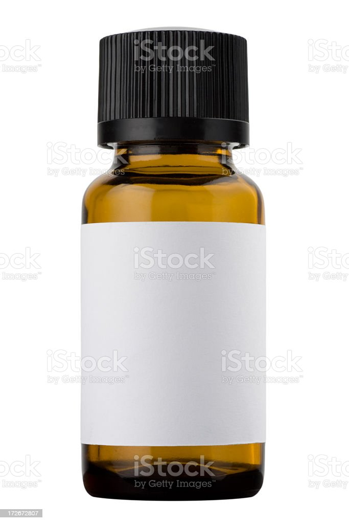 Medicine bottle with a blank white label and a black cap stock photo
