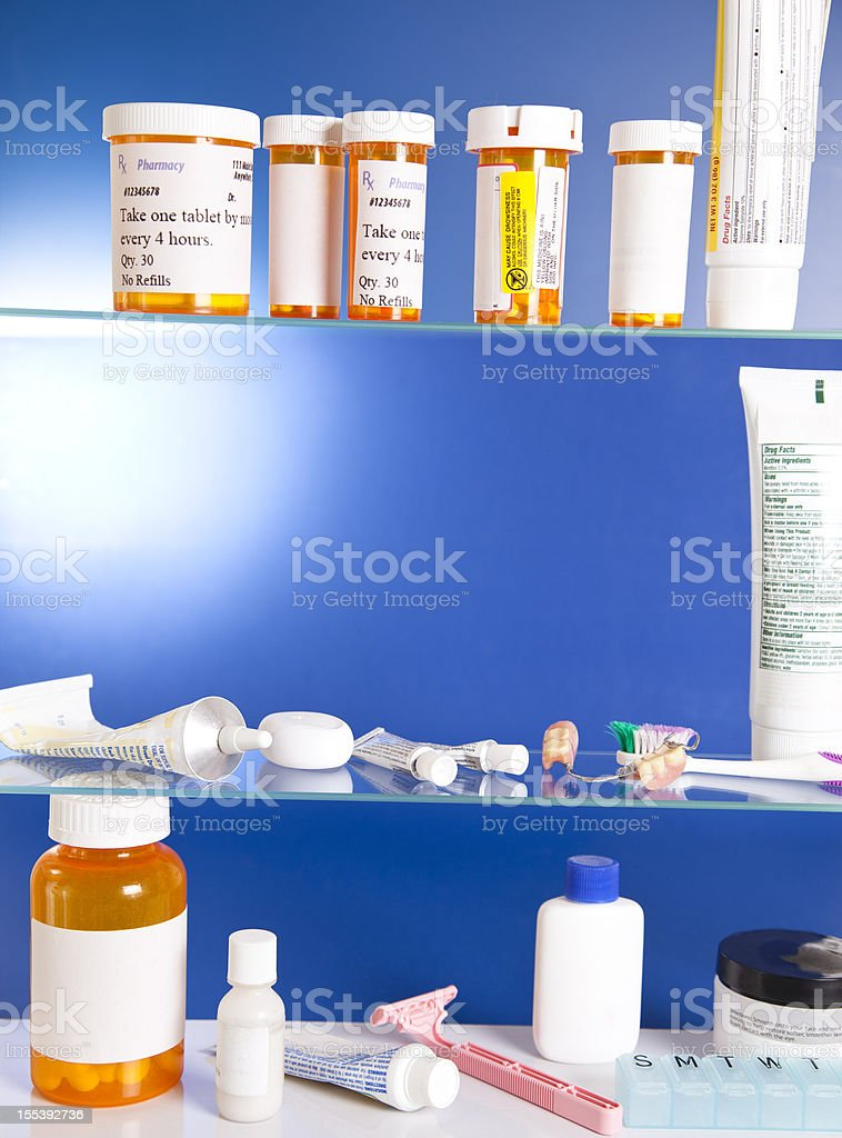 Medicine Cabinet contents stock photo