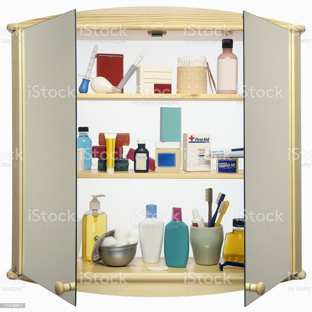 Medicine Cabinet cut out on white stock photo
