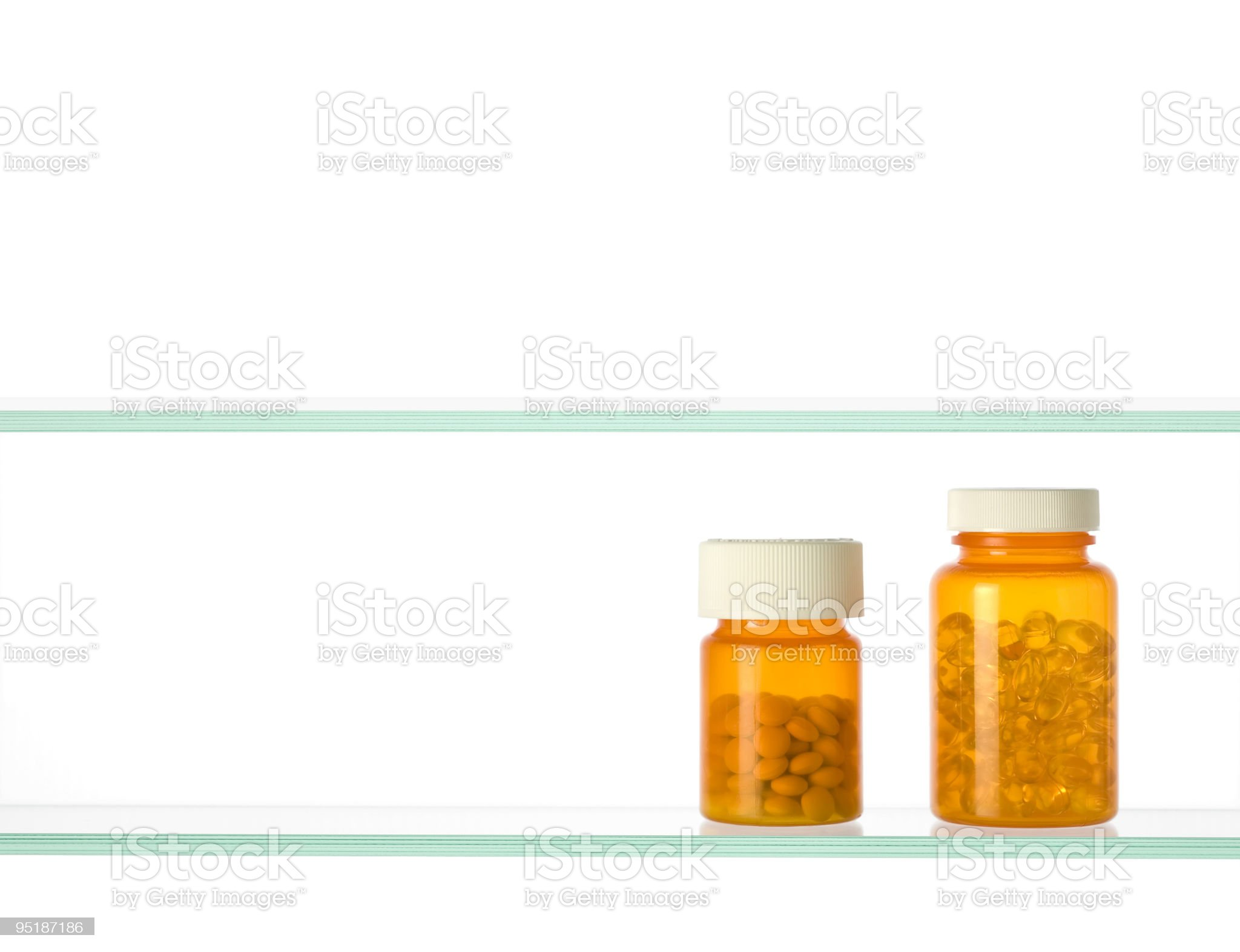 medicine cabinet with two pill bottles on white background royalty-free stock photo