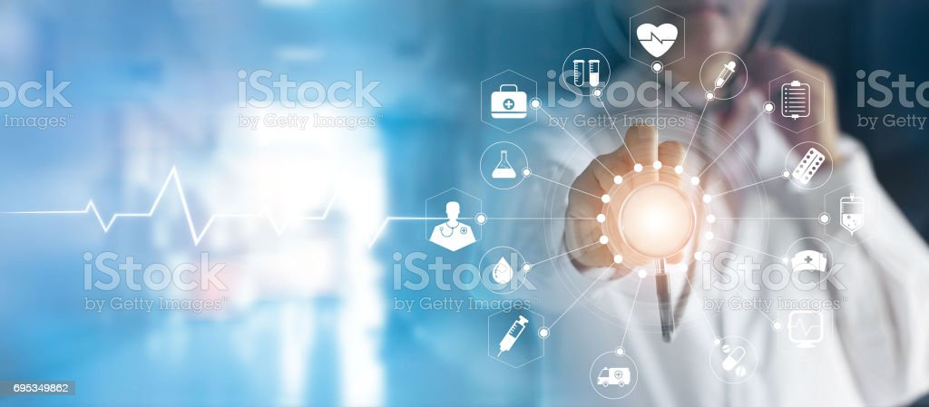 Medicine doctor and stethoscope in hand touching icon medical network connection with modern virtual screen interface, medical technology network concept stock photo