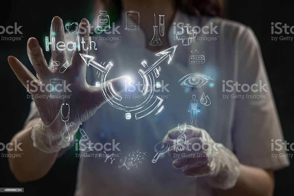 Medicine doctor hand working with modern computer interface stock photo