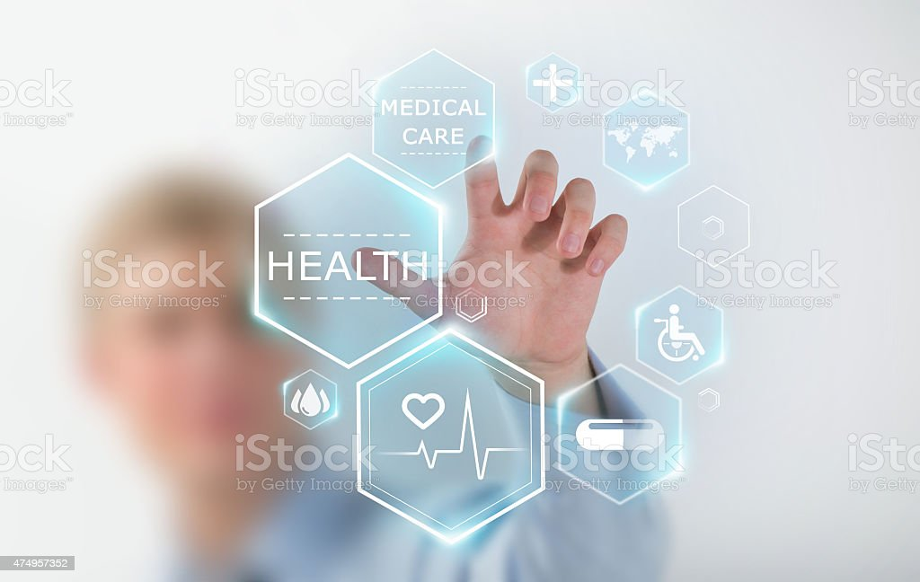 Medicine doctor hand working with modern medical icons stock photo