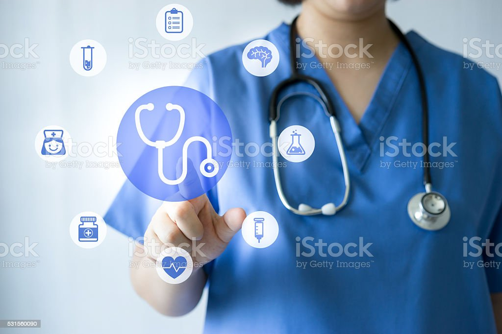 Medicine doctor & nurse working with medical icons stock photo