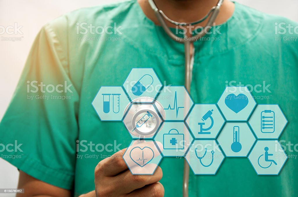 Medicine doctor working with modern computer interface as concept stock photo