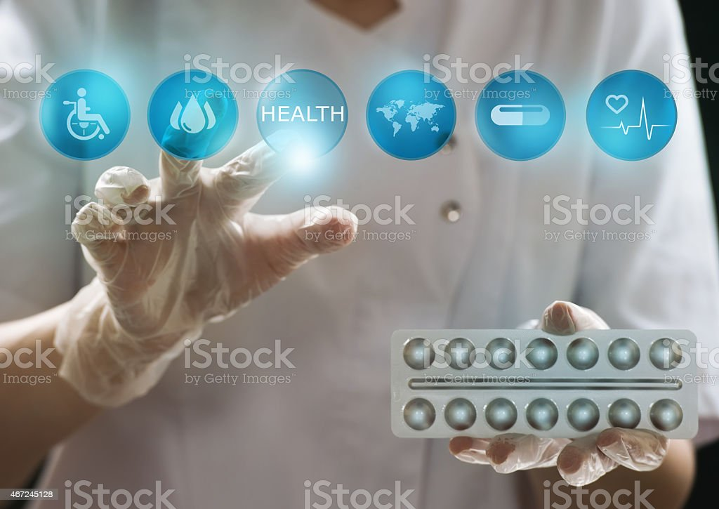 Medicine doctor working with modern computer interface as medical concept stock photo