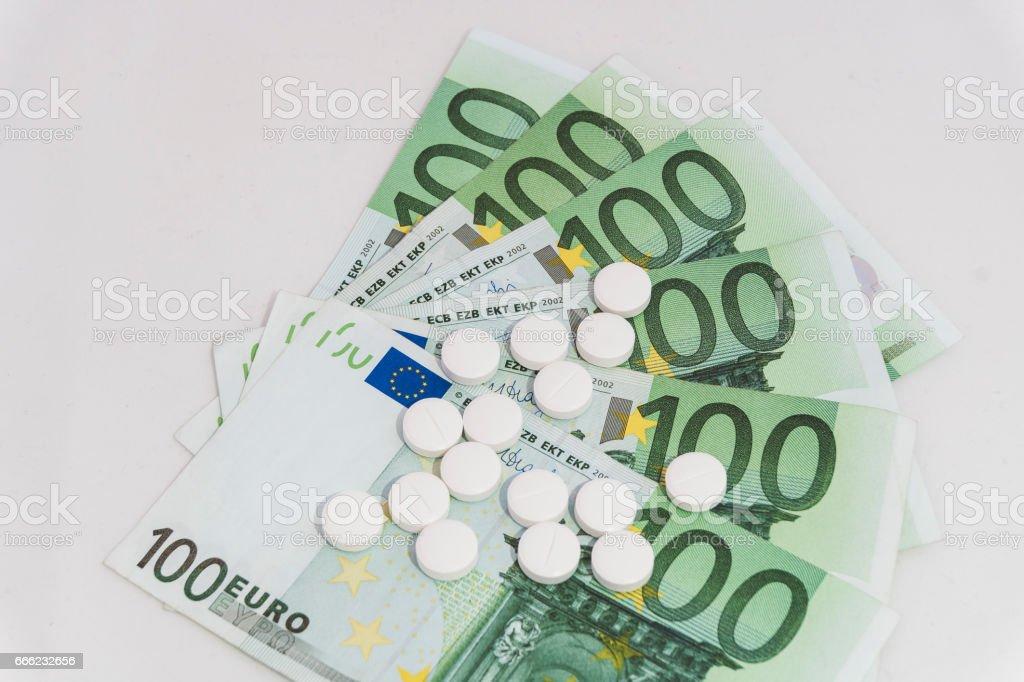 Medicine expenses, pills on money