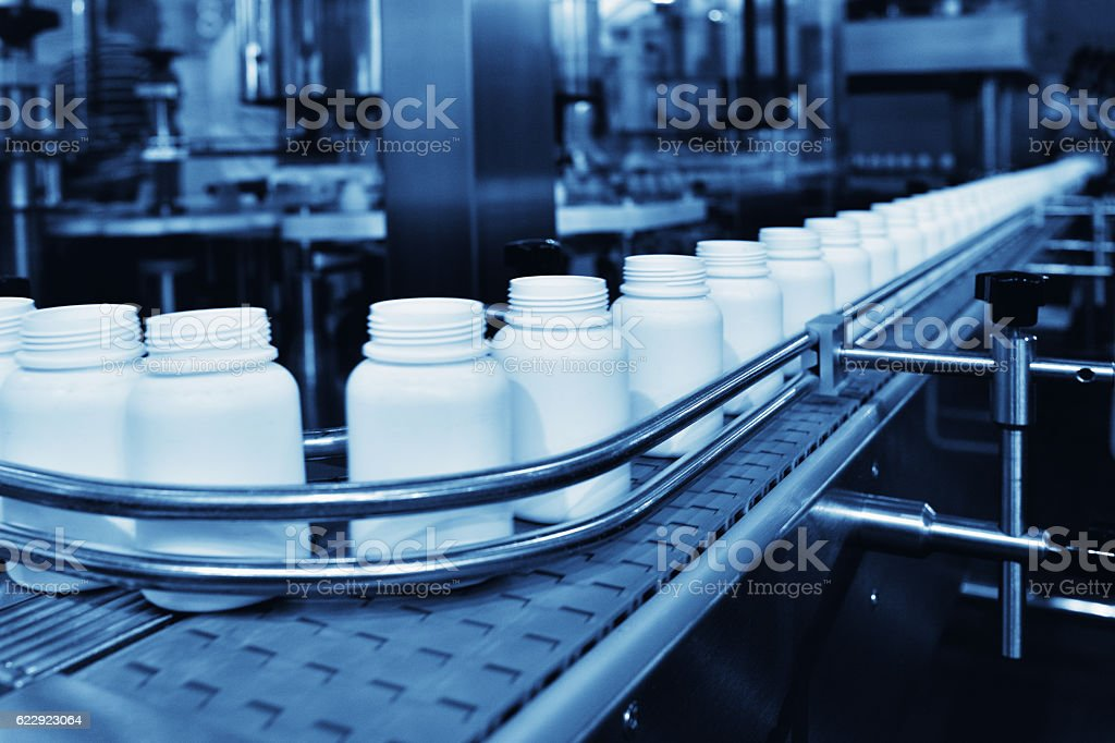 Medicine Filling in Production Line stock photo