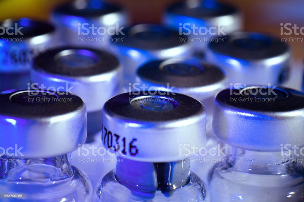 Medicine Glass Ampoules, empty insulin bottles stock photo