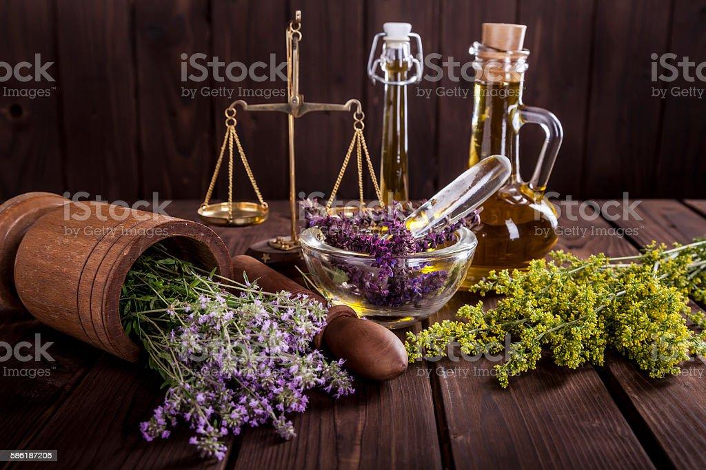 Medicine Herbs, Oil and  Balance stock photo