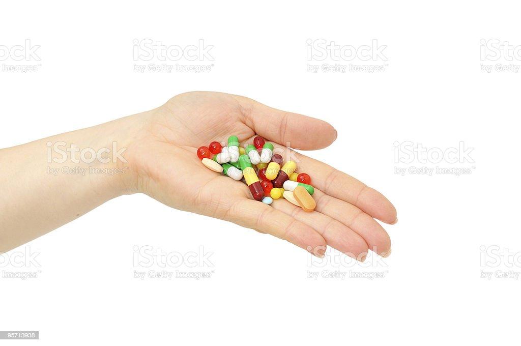 Medicine in a hand stock photo