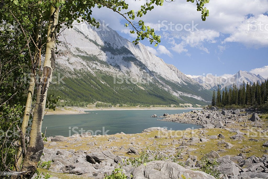 Medicine Lake in the Canadian Rockies stock photo