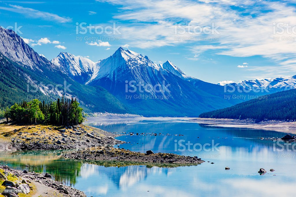 Medicine Lake, Jasper National Park, Alberta, Canada stock photo
