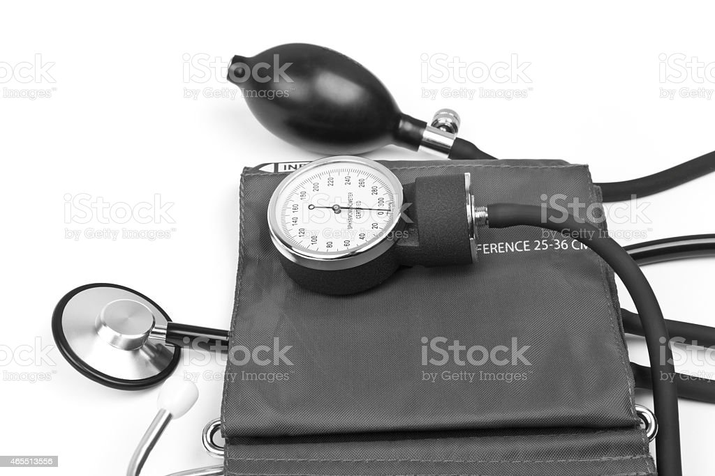 medicine object. blood pressure with stethoscope stock photo