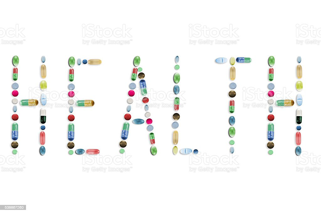 Medicine Pills, Colorful Tablets, Letters Word stock photo