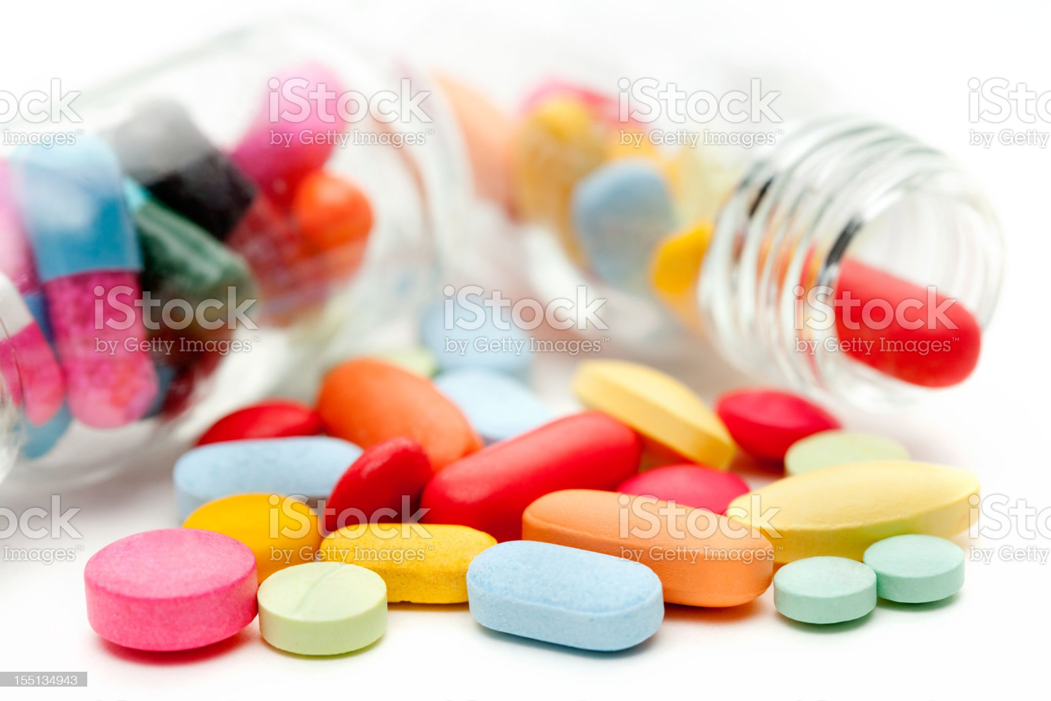 Medicine Pills In Small Glass Bottles royalty-free stock photo