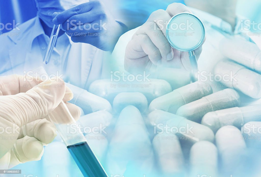 medicine research product at science lab stock photo